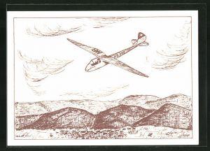 Künstler-AK Segelflugzeug über hügeliger Landschaft, Segelflugpost-Stempel 1959