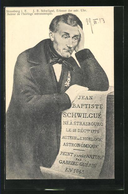 AK Uhrenmacher Jean Baptiste Schwilgue mit Schriftrolle