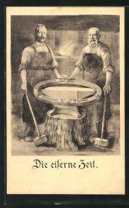 Künstler-AK Zweibund, Die Eiserne Zeit, Kaiser Franz Josef I. von Österreich und Bismarck am Amboss