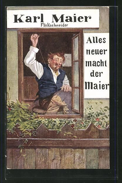 AK Flickschneider Karl Maier näht bei offenem Fenster