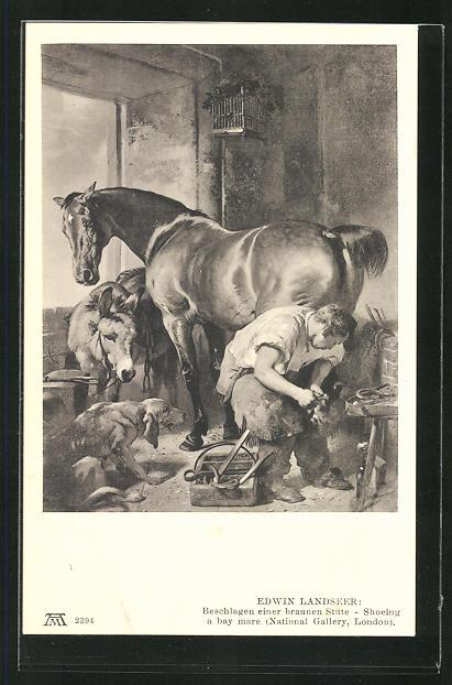 AK Schmied Edwin Landseer beschlägt einer brauen Stute die Hufe