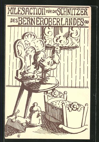 AK Bern, Hilfsaction für die Schnitzer des Berneroberlandes, Stuhl, Spielzeug und Wiege