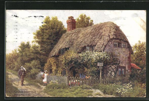 Künstler-AK Brading / Isle of Wight, Little Jane`s Cottage