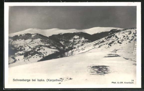 AK Iszka, Panorama der verschneiten Schneeberge