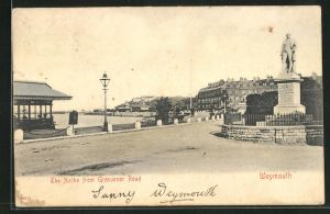 AK Weymouth, The Nothe from Grosuenor Road with Statue