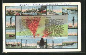 AK Tulsa, OK, Partien eines Ölfeldes mit Bohrtürmen