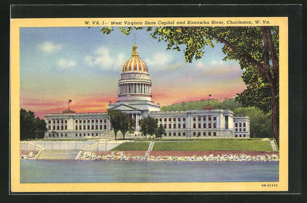 AK Charleston, WV, West Virginia State Capitol and Kanawha River