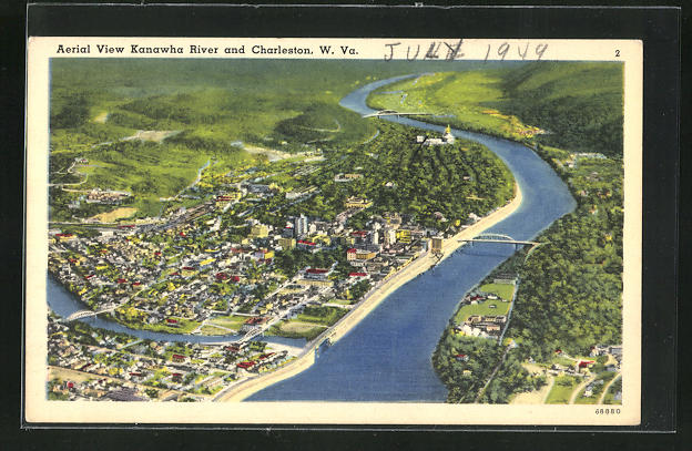 AK Charleston, WV, Aerial View Kanawha River and City