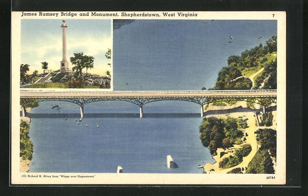 AK Sheperdstown, WV, James Rumsey Bridge and Monument