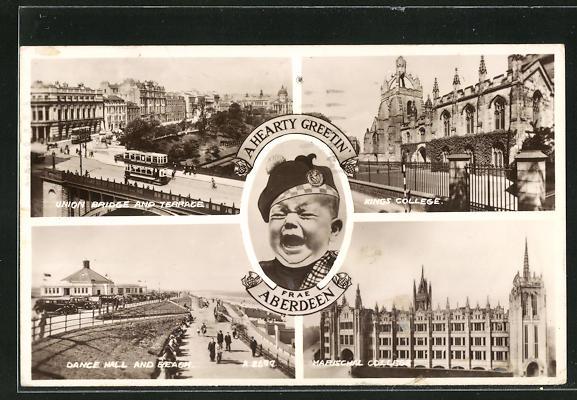 AK Aberdeen, Union Bridge an Terrace, Dance Hall and Beach, Marischal College, Kings Collage