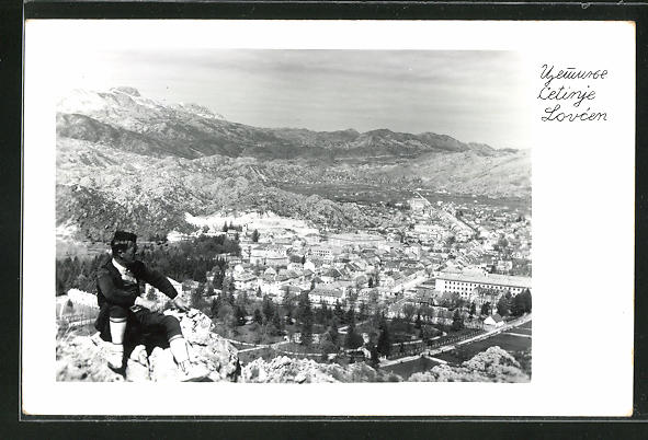 AK Cetinje / Cettigne, Blick vom Berg auf den Ort