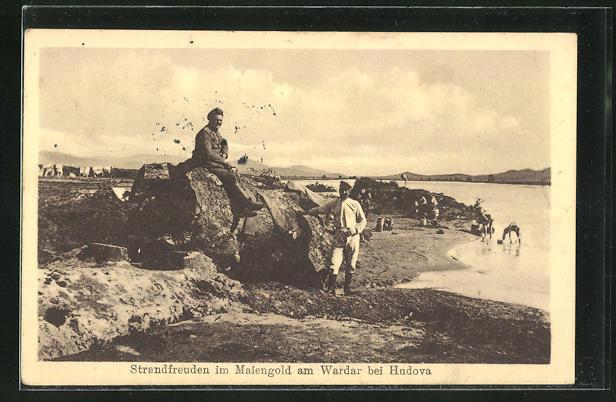 AK Hudova, Strandfreuden im Maiengold am Wardar