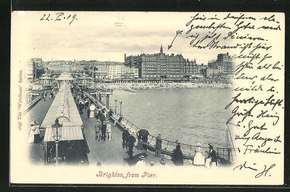 AK Brighton, Pier, Ortsansicht mit Seebrücke