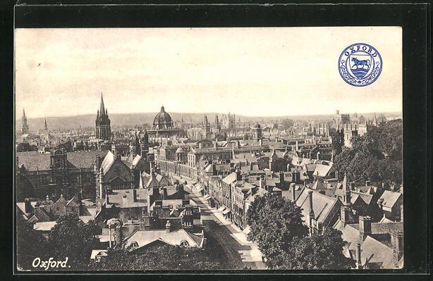 AK Oxford, Panoramablick aus der Vogelschau