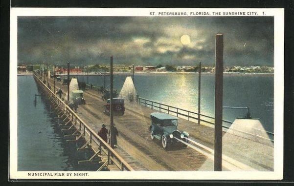 Mondschein-AK St. Petersburg, FL, Blick von der Brücke zum Ort