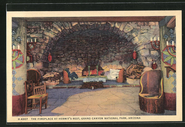 AK Grand Canyon Village, AZ, the Fireplace at Hermit's Rest.