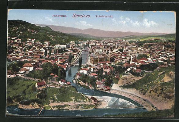 AK Sarajewo, Panoramablick vom Berg