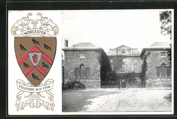 Präge-AK Worcester, Strassenpartie mit Gebäudeansicht, Wappen