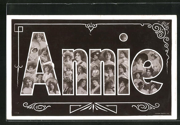 AK Damenportraits im Schriftzug Annie, Namenstag