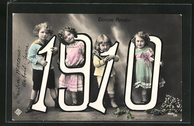 AK Kinder halten die Jahreszahl 1910 in den Händen, Bonne Année
