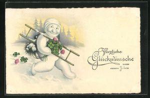 AK Schneemann verkleidet sich als Schornsteinfeger und bringt Glückwünsche zum neuen Jahr