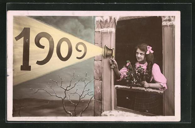 AK Mädchen leuchtet mit der Lampe auf die Jahreszahl 1909
