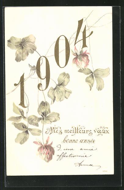 AK Jahreszahl 1904 wird von Klee umrahmt, Bonne année