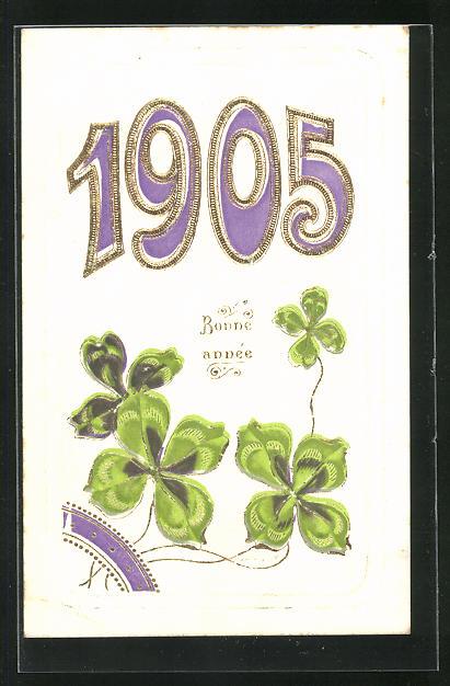 AK Glücksklee und Jahreszahl 1905, Bonne année