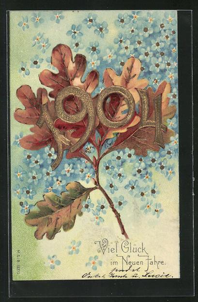 AK Jahreszahl 1904 vor Eichenblättern, Viel Glück im neuen Jahre