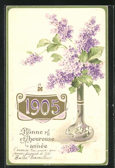 AK Fliederstrauss in der Vase, Jahreszahl 1905, Bonne et heureuse année