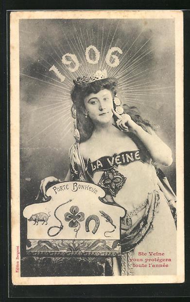 AK Junge Dame mit Krone und Glückssymbolen, Sonnenstrahlen und Jahreszahl 1906
