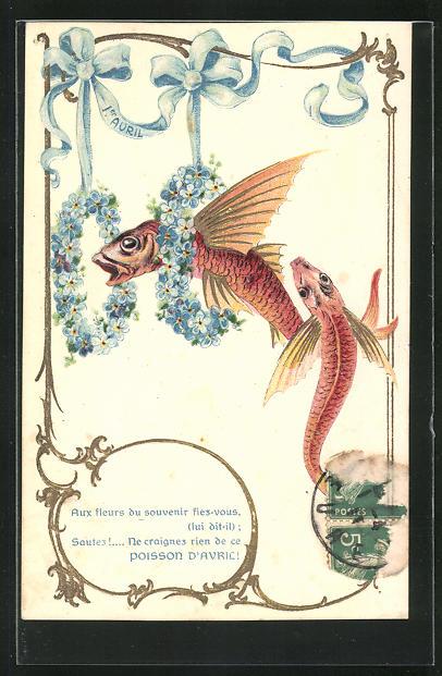 Präge-AK Fische werden von Blumenkränzen eingerahmt, Gruss zum 1. April