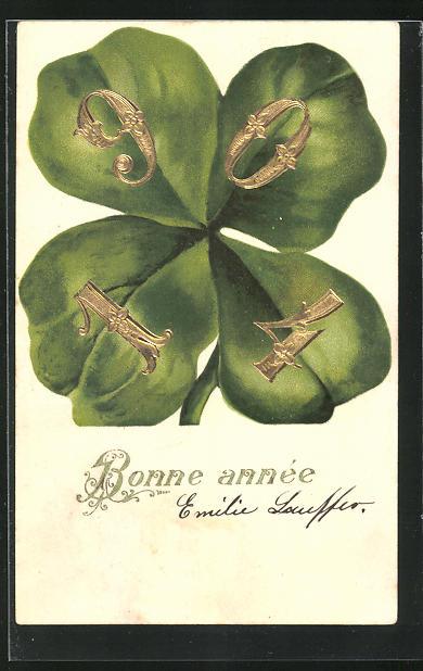 AK Jahreszahl 1904 auf den Blättern eines Kleeblatts, Bonne année