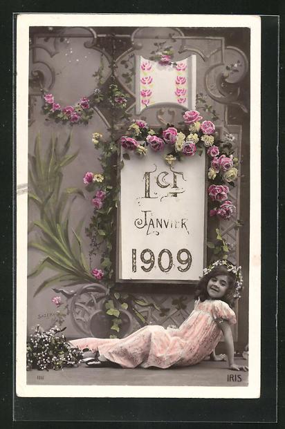 AK Mädchen sitzt unter dem Kalenderblatt 1er Janvier, Jahreszahl 1909