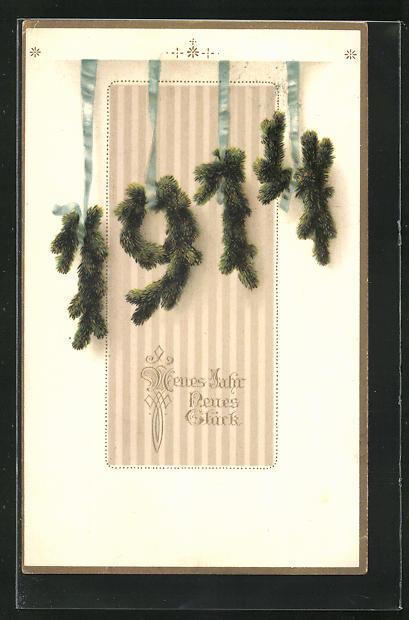 AK Tannenzweige bilden die Jahreszahl 1914