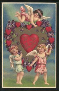Präge-AK Engel gratulieren mit Herzen zum Valentinstag