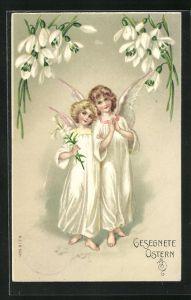 Präge-AK Osterengel falten betend die Hände, Gesegnete Ostern