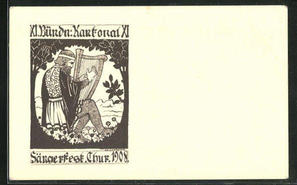 AK Chur, XI. Bündn: Kantonal 1908, Sängerfest, Musiker mit Harfe