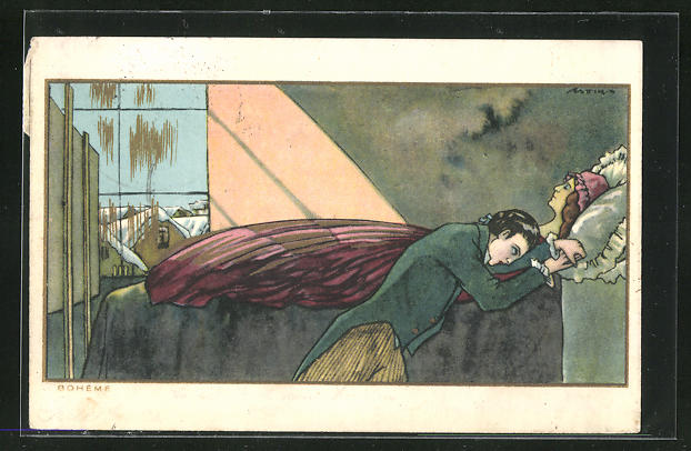 Künstler-AK Boheme, Mann trauert am Sterbebett seiner Frau, Art Deco