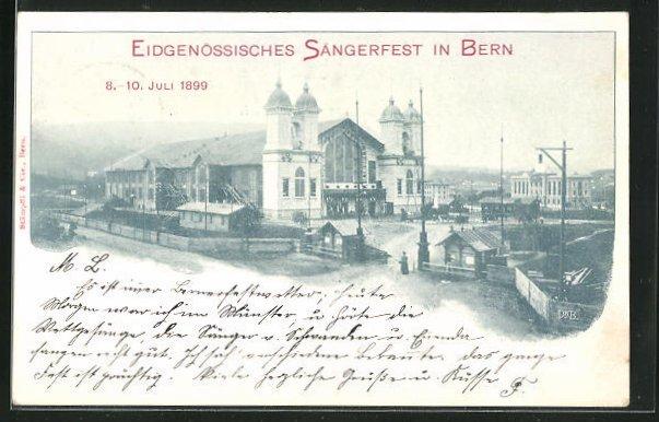 AK Bern, Eidgenössisches Sängerfest 1899, Blick zur Festhalle