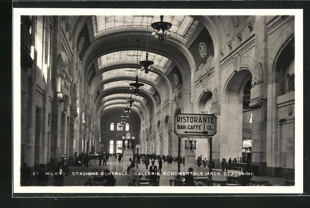 AK Milano, Stazione Centrale, Galleria Monumentale (Arch. Stacchini), Bahnhof