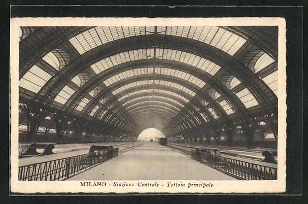 AK Milano, Stazione Centrale, Tettoia principale, Bahnhof