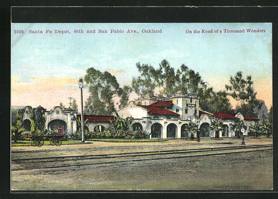 AK Oakland, CA, Santa Fe Depot, 40th and San Pablo Ave., Bahnhof