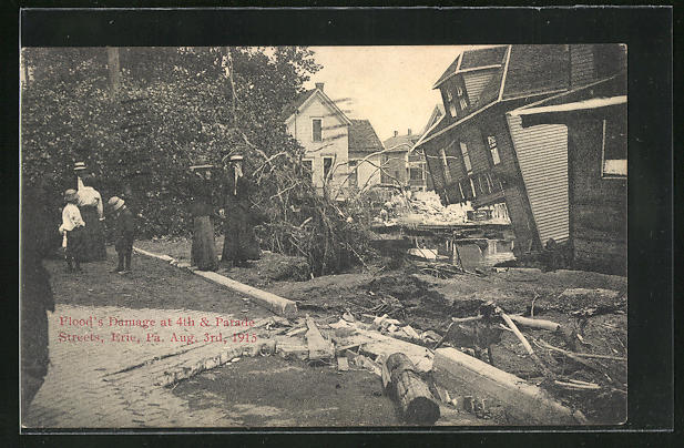 AK Erie, PA, Flood`s Damage at 4th & Parade Streets 1915