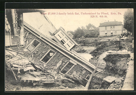 AK Erie, PA, New $7,000 2-family brick flat, Undermined by Flood, 328 E. 4th St.