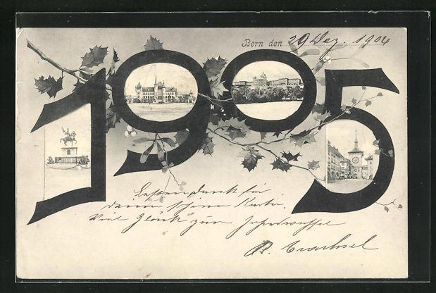 AK Bern, Jahreszahl 1905 mit Ortspartien