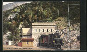 AK Brigue, Eisenbahn verlässt den Tunnel du Simplon