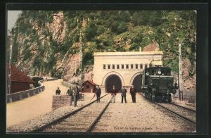 AK Trasquera, Iselle di Trasquera, Bahnarbeiter und Eisenbahn am Tunnel du Simplon