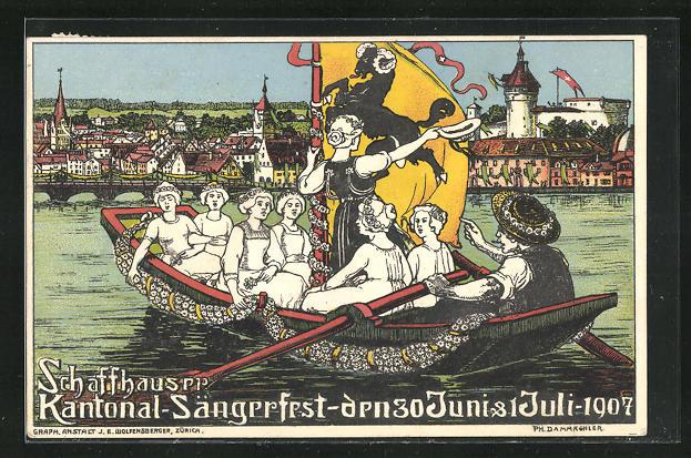 AK Schaffhausen, Kantonal Sängerfest 1907, Sängerinnen auf einer Bootspartie