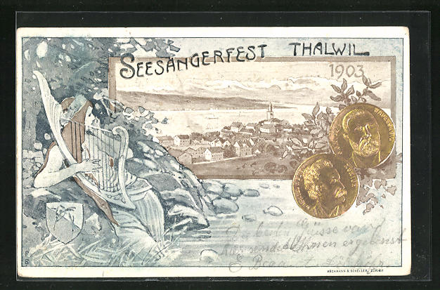 AK Thalwil, Seesäsngerfest 1903, Junge Frau mit Harfe, Münzen, Gesamtansicht